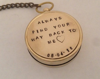Groom wedding gift . Add date - Working compass key chain. For our adventures hand stamped with date - coordinates