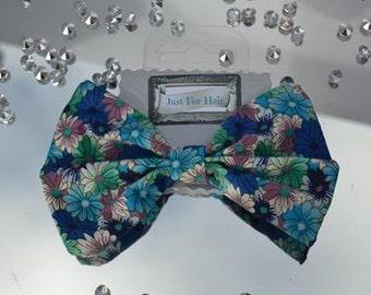 Blue hair bow, Floral Hair Bow, Blue Hair Bow, Green Hair Bow, Girls Hair Accessories, Blue Hair Accessories, Hair Bow Clip, Hair fb2