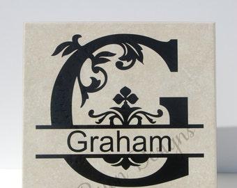 Split Regal Personalized Tile, Split Regal Monogrammed Tile, Family Name Tile, Housewarming Gift, Wedding Gift, Home Decor, Custom Tile