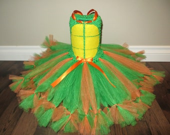 Orange teenage mutant ninja turtle tutu dress, orange TMNT tutu dress, Michelangelo tutu dress