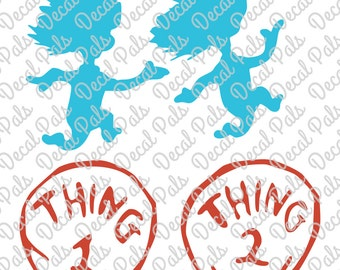 fcm svg png CUT files for Dr. Seuss' Thing 1 and Thing 2 silhouettes and badges