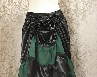 "Layered Skirt ""Esmeralda"" - emerald-black, size 42 (DE)"