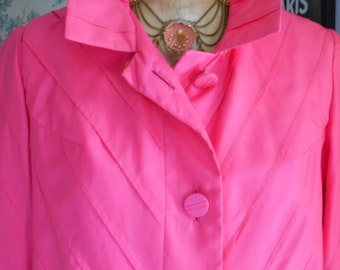Beautiful Hot Pink/Watermelon 1960's Trench/All-weather/Coat