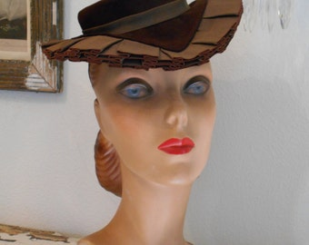 Awesome 1940's Brown Felt Tilt Hat with Ruffle