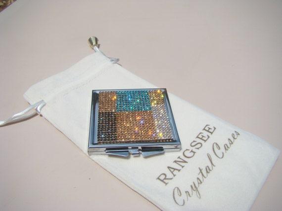 Mirror Box Rose Gold Abstract Art (4) Rhinestone Crystals, Silk/Velvet bag incluede. Genuine Rangess Crystal Cases