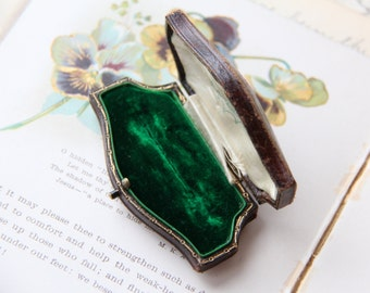 Chocolate Brown Antique Hinged Pin Box Emerald Green Velvet Gold Border - Victorian Jewelry Presentation Box - Display and Photo Prop