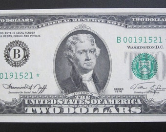 1976 Two Dollar *Star* Federal Reserve Note B00191521*
