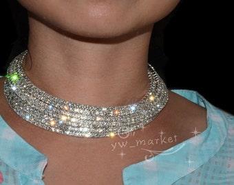 Crystal Rhinestone Collar Necklace Choker Necklaces Wedding Birthday Party