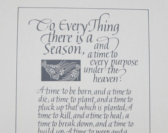 Ecclesiastics 3, To everything there is a season, bible  verse, biblical quote, bible print, scripture verse, wall decor, housewarming gift