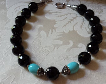 Black faceted onyx and turquoise necklace