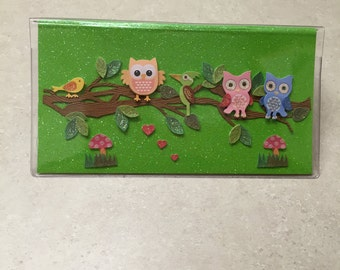 CHEERFUL OWLS - Vinyl Checkbook cover,Scrapbook style,Duplicate or Single Checks, No wait Ready to Ship