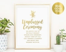 Unplugged Wedding Signs / Unplugged Ceremony Signs / No Cell Phone Sign / No Photography Sign / REAL GOLD Foil Wedding Signs / Peony Theme