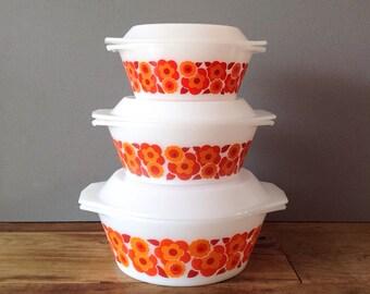 "Arcopal ""Lotus"" Casseroles / Oven Dish With Lid Set x 3 White Milkglass - Retro Floral Orange Design, 70's French Pyrex Kitchenware"
