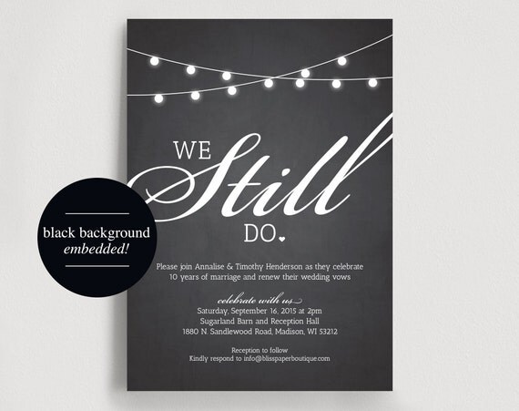 Wedding Vow Renewal Invitation Wording Samples: We Still Do Vow Renewal Invitation Vow By BlissPaperBoutique