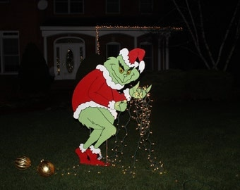 Grinch Stealing Christmas Lights Yard Art- Grinch Painted on BOTH sides -Ready to Ship Now!