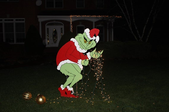 Grinch stealing christmas lights yard art grinch yard art painted on