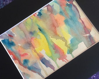 """Colorful Original Abstract Watercolor Painting/Matted and Mounted to 8""""x10""""/Bohemian"""