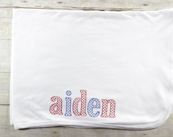 Boys name receiving blanket - baby boy - blanket - coming home - baby shower - gift - set