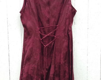 Clueless vintage 90s mini dress merlot  Burgundy silk floral free people style dress