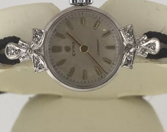 Fine and Rare Vintage CYMA ladies' 18ct White Gold & Diamond watch. Circa 1940's.