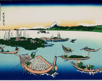 "Japanese Ukiyo-e Woodblock print, Katsushika Hokusai, ""Tsukuda Island in Musashi Province, from the series Thirty-six Views of Mount Fuji"""