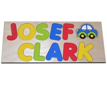 Zoom Zoom Personalized Wooden Name Puzzle With Two Names & Car a Great First Birthday Gift id247267145