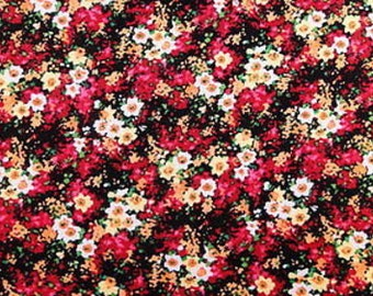 100% Rayon with Colored Floral Print Fabric by the yard
