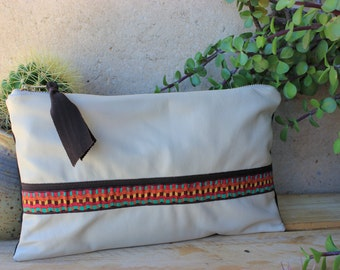 Leather and oilcloth Clutch