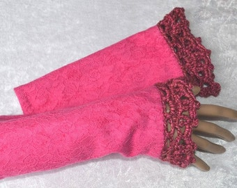 fingerless gloves, arm warmers, fingerless mittens, pink gloves, pretty in pink