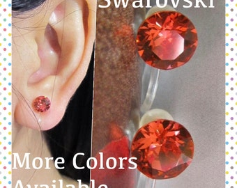 Padparadscha Rhinestone Clip on earring  C19s  Swarovski Crystal Wedding Clip on earring Non pierced earring, Magnetic Earring alternative
