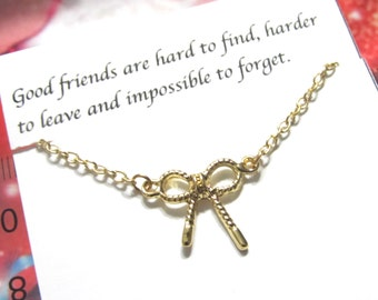 Gold Bow Tie Friendship necklace |A5| Best Friend Necklace, Bow Necklace, Best Friend Gift, Birthday gift, gift for friend,knot necklace