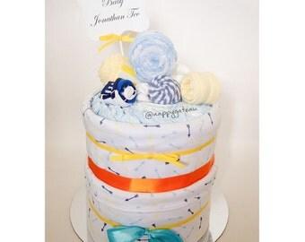 Its a boy! 2 tier nappy cake
