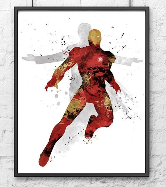 Avengers Watercolor: Iron Man Watercolor Print Avengers Art Superhero By