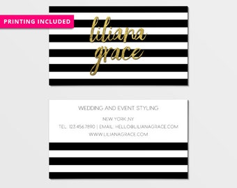 Design & Print - 500 business cards,personalized,business card design,business card printing,custom business card,gold,black,striped,stripes