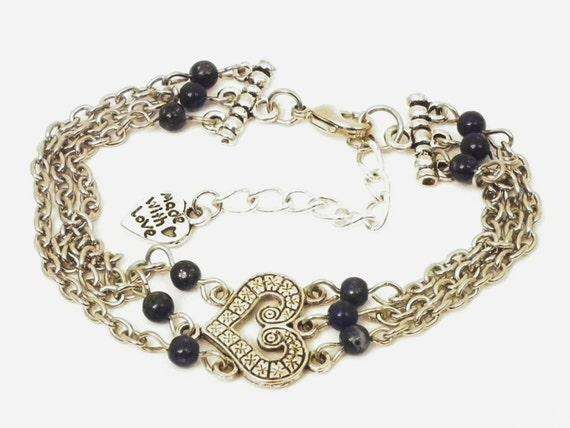 Stunning 3 string Bracelet with Lapis Lazuli