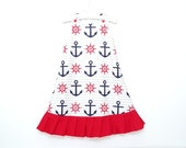 Toddler Nautical Summer Cotton Dress - Size 3T-4T - Toddler Sun dress - Baby nautical dress - A-line dress - Pinafore dress