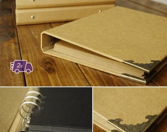 Blank Kraft Hardcover DIY Scrapbook Photo Album | 6-ring Binder | 40 Pages | Wedding Guestbook | Graduation Book