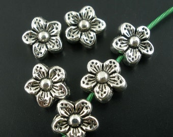 60Pcs Silver Tone Flower Spacer Beads 15mm