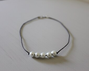 5 Pearl Choker Necklace | Dark Brown Cord Necklace