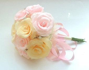 Wedding Bouquet, Bridesmaids Bouquet, brooch bouquet,Paper Bridesmaids Bouquet, Bridal Bouquet,Paper Bridal Bouquet,Blue Roses Bouquet