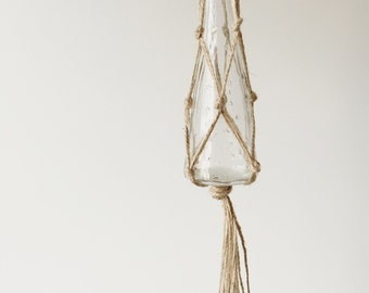 mini macrame terrarium plant hanger - home decor