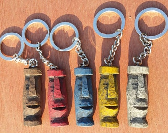 Tiki Keyring / Keychain, Acylic resin moulded from wooden carving with chrome steel chain and ring. Kustom Kulture