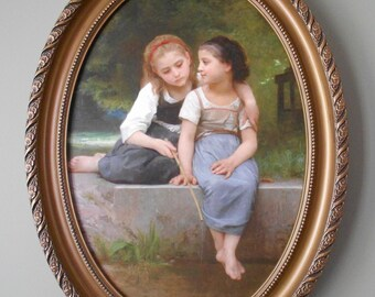 WILLIAM BOUGUEREAU art print on canvas, in oval frame .