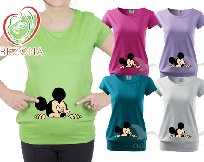 Disney Winking Mickey Mouse Maternity clothes t-shirt, tShirt, Pregnancy MATERNITY Shirt,Peekaboo, Peeking Mickey,Baby Peeking
