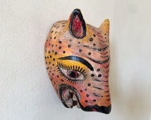 Small coyote / jaguar / wolf mexican mask. one of a kind