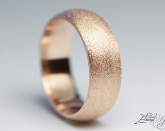 18k Solid Rose Gold Wedding Band, Matte Wedding Band, Brushed Wedding Band, 7mm, Matte Finish Half Round Band