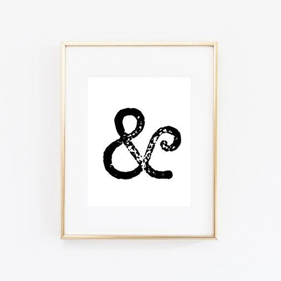 Ampersand art print ampersand art wall art print art for Ampersand decoration etsy