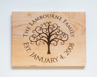 Custom Cutting Board--Personalized Family Plaque-Laser Engraved Sign-Wedding or Anniversary Gift-Family Established-Last Name Sign