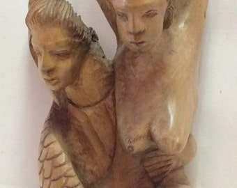 """Art Deco """"Mermades"""" carved wood sculpture 17"""" tall, 9"""" wide, 7"""" deep, weight 7.4 Lb. Initialed N.J."""