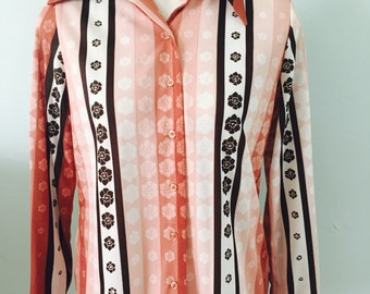 Vintage Ladies/1970s Shirt/Saturday Night Fever Style/Disco/Blouse/Shirt